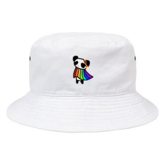 オレンジリボンとレインボーフラッグを羽織るパンダ Bucket Hat