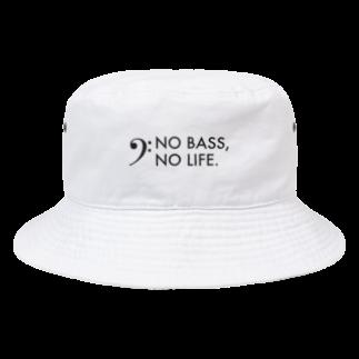 もりてつのNO BASS, NO LIFE.(黒文字) Bucket Hat