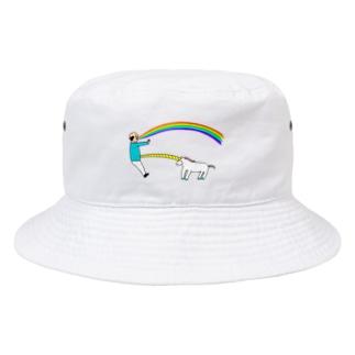 花くまゆうさくのユニコーン虹の出し方1 Bucket Hat