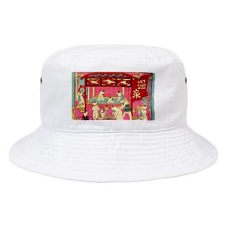 ネコ温泉 浮世絵 Bucket Hat