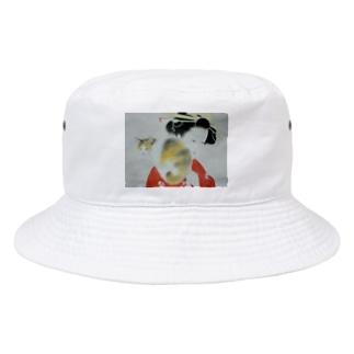 懐き猫 大正画 Bucket Hat