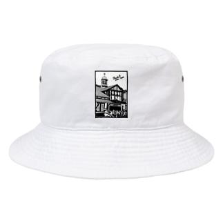 ありがとう原宿駅(切り絵風・枠付・英字) Bucket Hat