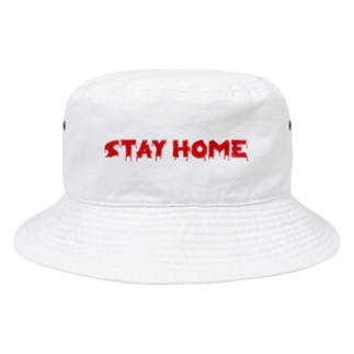 horror STAY HOME。 赤 Bucket Hat