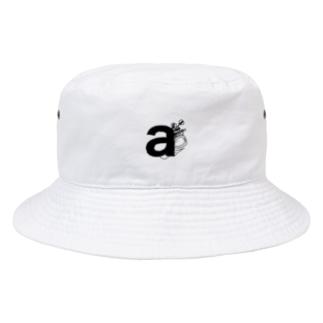 わさびのおえかきの刺繍みたいなイニシャル(a)flower Bucket Hat
