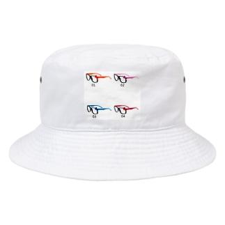 春の定番伊達メガネ 可愛い プラスチックレンズ 猫 Bucket Hat