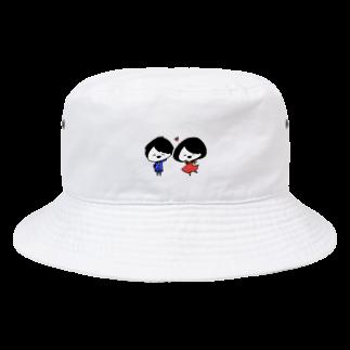 ゆるちこさんのおみせのあかちびちゃん と あおちびくん Bucket Hat
