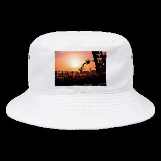 写真プリントの夕焼け小焼け Bucket Hat