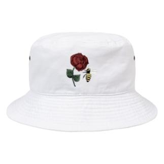 薔薇と蜂 ワンポイント Bucket Hat