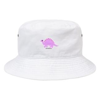 眠たいキョウリュウ ピンク Bucket Hat