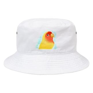 ほんわかコザクラインコ ルチノー【まめるりはことり】 Bucket Hat