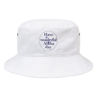 吹き出しロゴ Have a wonderful Aloha day142(NAVY) Bucket Hat
