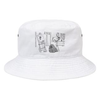 アトリエの猫と、かしこいプーリー犬 Bucket Hat
