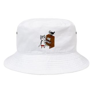ネコピアノwithヨゲンノトリ Bucket Hat