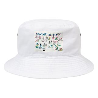 KAERUCAFE SHOPのとり Bucket Hat