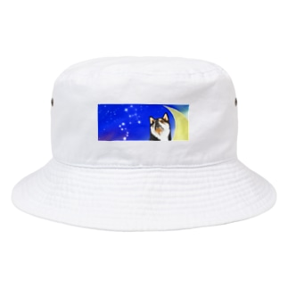 初おばぁばの(黒柴)うちのわんこchanシリーズ 月と星 横長  Bucket Hat