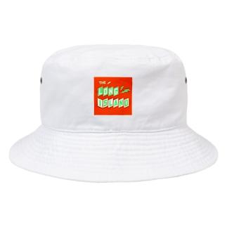 平行四辺形デザイン グリーン×ホワイト×オレンジ Bucket Hat