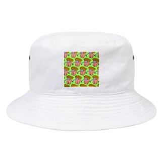 Mieko_Kawasakiの魅惑のフライドポテト🍟 GULTY PLEASURE FRENCH FRIES GREEN Bucket Hat