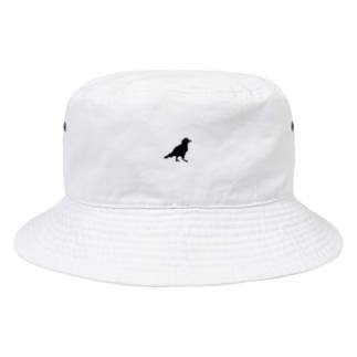 ドット画カラス(黒) Bucket Hat