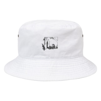 ちょぼろうSHOPの冒涜的な猫ハス(色なし) Bucket Hat