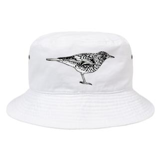 トラツグミのトラさん(白黒) Bucket Hat