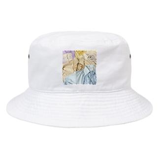 70sfrillblouseprint Bucket Hat