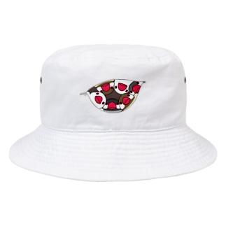 三密です!むちむち文鳥さん【まめるりはことり】 Bucket Hat