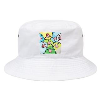 みっちりむっちり過密マメルリハさん【まめるりはことり】 Bucket Hat