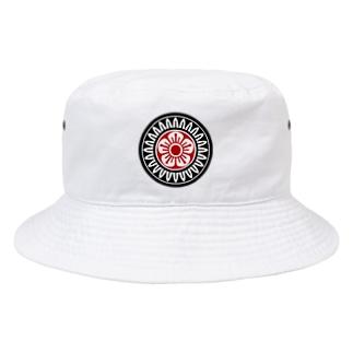 麻雀牌 1筒 イーピン <筒子>黒赤ロゴ Bucket Hat