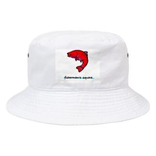fisherman's square『Red trout』 Bucket Hat