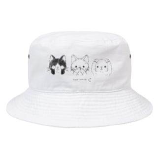 見ニャい、言わニャい、聞かニャい(黒線) Bucket Hat