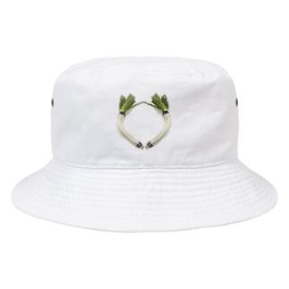 ドット絵曲がりネギ Bucket Hat