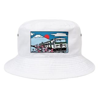 「踊り子」185系と富士山、桜 イラスト Bucket Hat