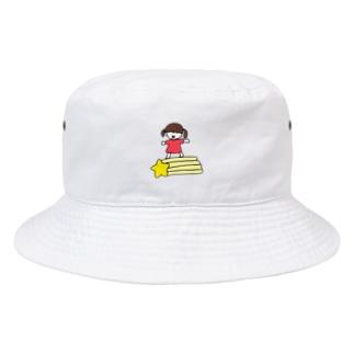 さかもとこのみのグッズやさんの流れ星と女の子 Bucket Hat