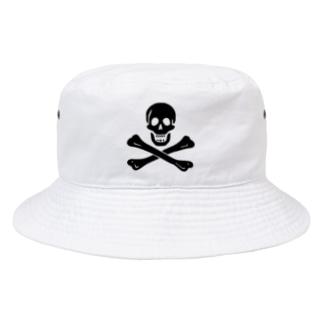 海賊旗スカル-Jolly Roger サミュエル・ベラミーの海賊旗-黒ロゴ Bucket Hat