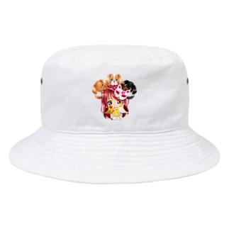 ハッピーアニマル(初期限定デザイン キャバリア・インコ・犬・鳥) Bucket Hat