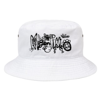 MugenJikko-ハット ホワイト Bucket Hat