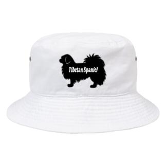 チベタンスパニエルシルエット≪黒≫ Bucket Hat