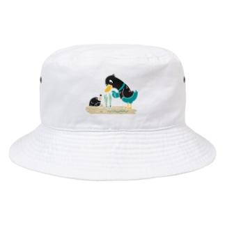 CT159 ネギを値切っている鴨カモ*B*白フチなし*大きいイラスト Bucket Hat