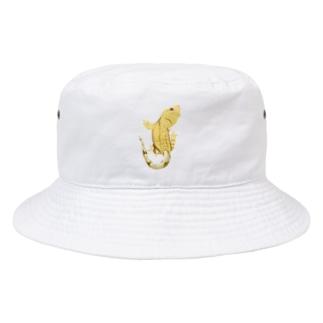 クレスが貼りついてますよ。イエロータイガー Bucket Hat