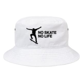NO SKATE NO LIFE 黒ロゴ Bucket Hat