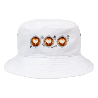 【Lady's sweet coffee】ラテアート メッセージハート / With accessories ~2杯目~ Bucket Hat