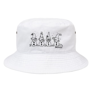 雪だるま/黒 Bucket Hat