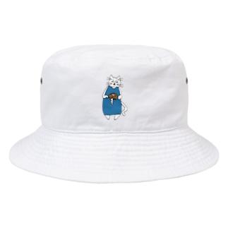 巻きしいたけ柄マキシ丈ワンピを着た猫 Bucket Hat
