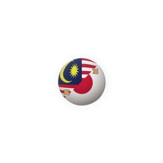 「マレー語話せます」缶バッジ(マレーシア・日本国旗) Badges