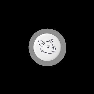 ワネコのブタ缶バッジ(白) Badges