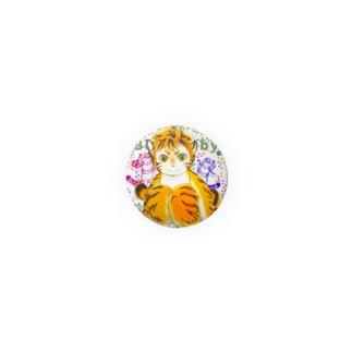 ワータイガーベビー(カラフル足跡付き) Badges