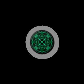 PygmyCat suzuri店の猫召喚魔法陣(緑)缶バッジ