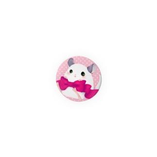 リボンチンチラ缶バッヂ(ピンク) Badges