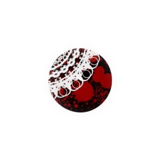 白レース 黒×赤 Badges