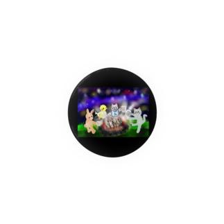 夜空キャンプ(缶バッジ44mm専用)【ゆめかわアニマル】 Badges